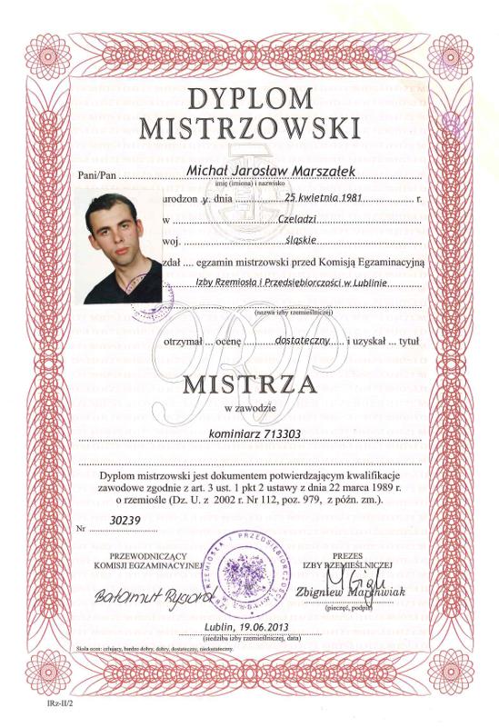 Mistrz Kominiarstwa Michał Marszałek